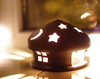Candle Lantern Candle Holder Ceramic House Tealight Holder Ceramics and Pottery ceramic decor Night light Gift