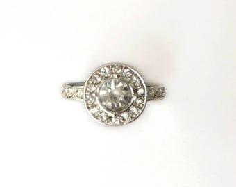 Vintage 90's Clear Round Diamante Crystal Rhinestones Couple Promise Ring Size P