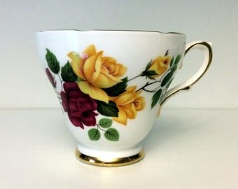 Delphine Red and Yellow Roses Tea Cup