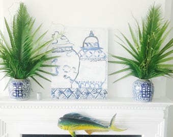 Blue & White Ginger Jar - Blue Willow, Chinese, Chinoiserie Inspired
