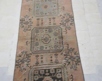 "pale red and blue rug runner,muted colored rug runner, vintage turkish rug runner,home of vintage rug pastel,2""5×10""4 ft/74×319 cm"