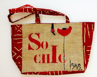 Burlap bag, and red African fabric