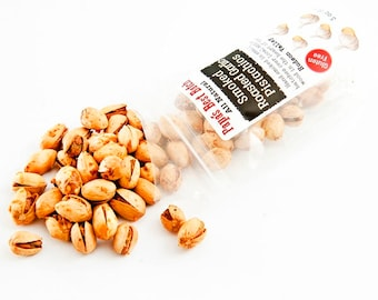 Roasted Garlic Smoked Pistachio Nuts -8oz. Bag Papa's Best Batch -Gluten Free, Hand Smoked in Small Batches, All Natural, Non-GMO Pistachios