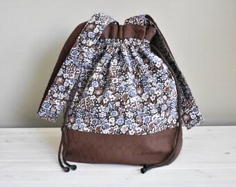 Blue Flower Drawstring Project Bag, Large bag for Knitting or Crochet