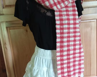 Handwoven red white wool checkered scarf wrap