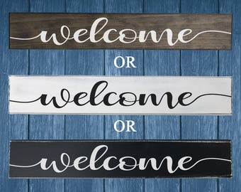 Painted Welcome Sign -  Rustic Wood Welcome Sign - Front Door Welcome Sign - Rustic Welcome Sign - Gifts for Her - Porch Sign