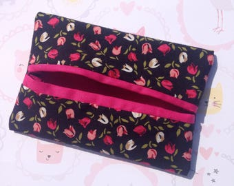 Floral pink travel tissue pouch