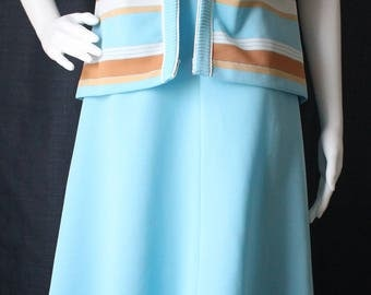 Vintage Lady Carol of New York 1960s Two-Piece Sleeveless Light Blue Sheath Dress With Blue, Tan, and White Striped Short Sleeved Jacket