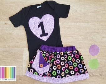 Size 0 Girls Donut Skirt and bodysuit Set,  Donut Cake Smash, Girls 1st Birthday Outfit, First Birthday Outfit, Girls Birthday, Donut Theme