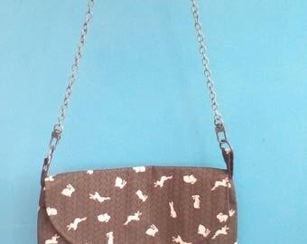 Beautiful brown rabbit pattern handbag.