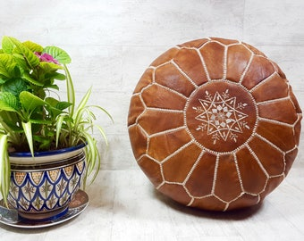 hight quality Moroccan leather pouf  handmade leather pouf  ottoman LP5