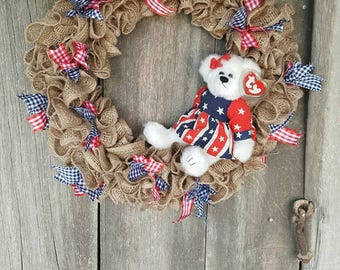 Beanie Baby Wreath, 4th of July Wreath, USA, American Pride,  Patriotic Wreath