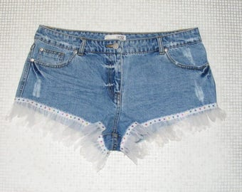 Size 12 vintage 70s customised festival hotpant shorts sequin lace trim (IA48)