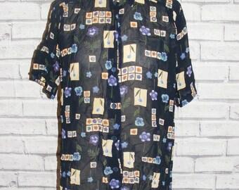 Size 22 vintage 90s short sleeve shirt sheer navy blue floral/crazy print (IB04)