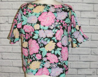 Size 18 vintage 80s boat neck short batwing sleeve tunic top floral print (IC57)