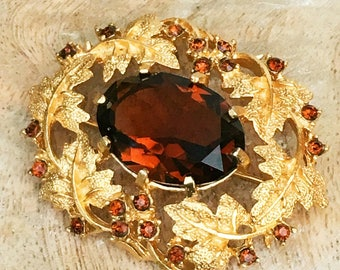 Vintage Sarah Coventry Brooch - Gold-Tone and Amber Glass