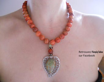 Red Jasper and a Unakite Cabochon necklace