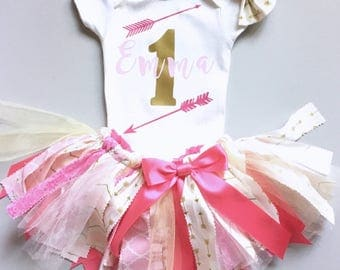Pink and Gold First Birthday Outfit, Pink and Gold Fabric Tutu, Birthday Girl Outfit, Birthday Tutu, Name over number One  Birthday Outfit,