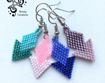 Les Petites demoiselles earring made with Miyuki Beads - Bricks Stitch method -