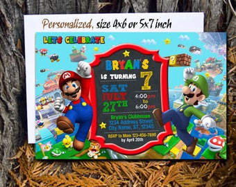 Super Mario Invitation / Super Mario Birthday Invitation / Super Mario Birthday / Super Mario Party / Super Mario Invite / Super Mario Card