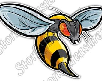 Bee Wasp Hornet Insect Cartoon Kids Car Bumper Vinyl Sticker Decal