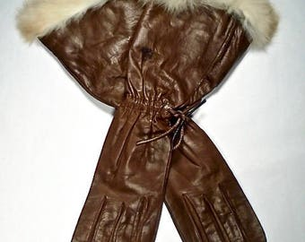 Halston Fur Cuffed Brown Vintage Leather Gloves ~ Made In Italy ~ 100% Silk Lined