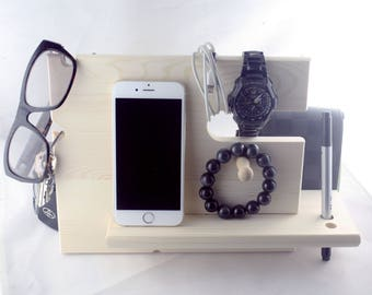 Birthday Valentine  Gift IPhone Docking Station with Key Holder, Pen Holder, Wallet and Watch Organizer for Father's Day and Special Day