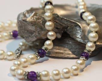 Amethyst Freshwater Pearl Necklace, 14k gold clasp SKU AM24SRDMGW