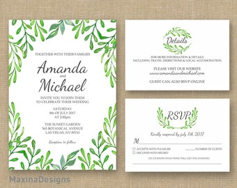 Greenery Wedding Invitation Printable Set, Watercolor Customizable Green Invite, Details Card RSVP Card Kit