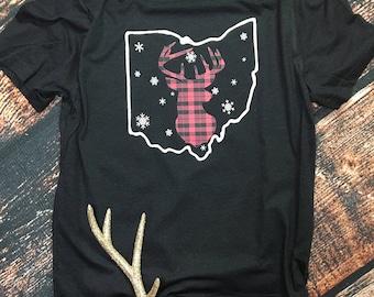 Women's Ohio buffalo plaid deer head shirt