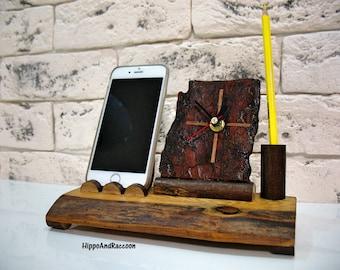 Docking station - Desk wood clock - Wood iphone dock station - Desk organizer - Pen holder with clock - Unique wood clock