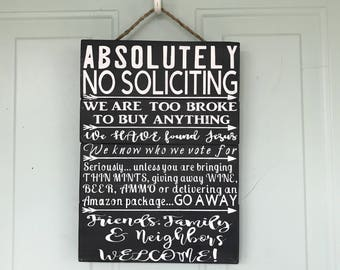 Funny No Soliciting | Etsy