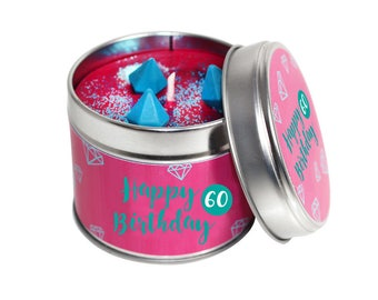 60th Birthday Candle Tins
