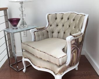 Antique Boudoir Chair, White French Provincial