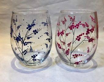 Set Of 2 Hand Painted Glasses - Berries - Stemless Wine Handpainted Glass Glassware