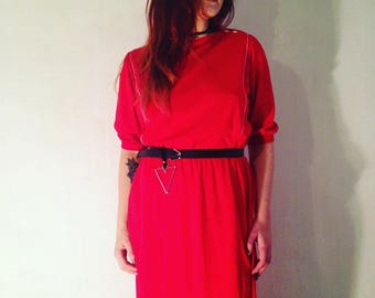 Vintage red maxi dress 38/M  SIZE 70s 1970s
