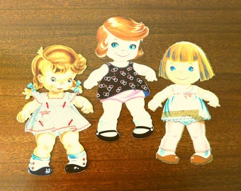 Paper Dolls set of three includes extra clothing vintage 1960s SHIPPING INCLUDED