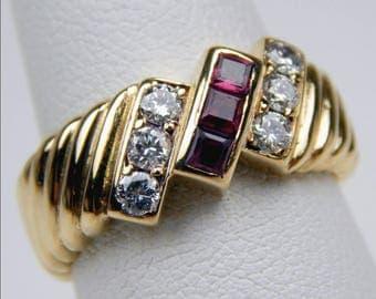 18k gold ruby diamond ring #10511