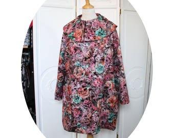 Manteau trapeze en lainage rose orange, manteau hiver forme trapeze, manteau simple colore, manteau trois quart  rose corail en lainage