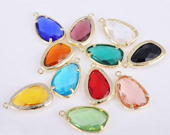 Gold Framed glass charm, framed teardrop charm, framed stone pendant/charm, 22MM*14MM