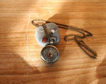Long vintage style necklace Santoir.  Vintage Locket pendant necklace. French vintage.