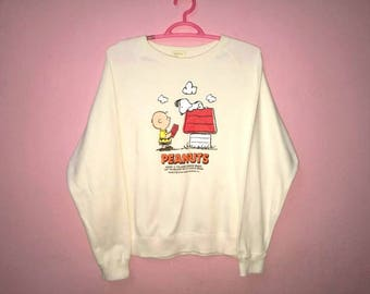 Rare!! Vintage Peanuts Snoopy Spellout Pullover Jumper Sweatshirt