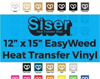 """Siser Easyweed Heat Transfer Vinyl HTV - 12"""" x 15"""", Vinyl Sheets Heat Transfer, Heat Transfer Sheet, Tshirt Vinyl Transfer, Iron Vinyl Sheet"""