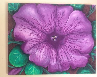 Original,hand painted,16x20,purple petunia,petunia, flower,summer,floral art,garden,acrylic painting , canvas.