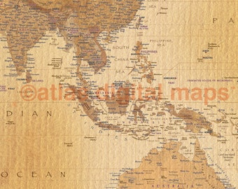 World Map Canvas Map of the World, World Map Print, Physical & Political World Map Golden Tan  (Rolled/Large)