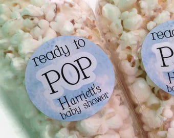 Ready to pop stickers, she's about to pop, baby shower stickers, baby shower favour, popcorn favour stickers, 132 - Blue