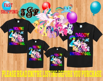 My LITTLE PONY Girl birthday Family BLACK Theme Shirts Vacation Long Sleeve Short Sleeve Tank tops Toddler Tshirt disney