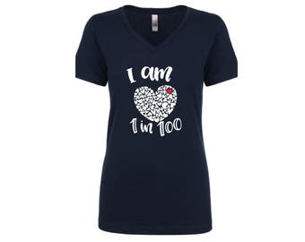 Adult 1 in 100 shirt | heart warrior shirt | CHD Awareness shirt