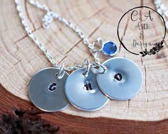 Personalised Mothers Necklace, Hand Stamped with multiple single charms, Swarovski Crystal Necklace, Personalised Initials Necklace.