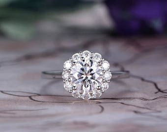 7mm Round Cut Moissanite Engagement Ring,14k White Gold,Art Deco halo,Anniversary ring,Promise ring,Prong Setting,Petite pave,Gift for her